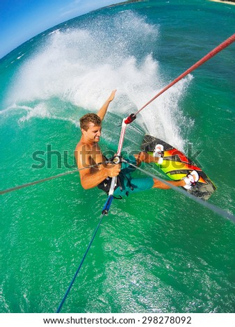 Kite Boarding. Fun in the ocean, Extreme Sport. POV View from Action Camera. - stock photo