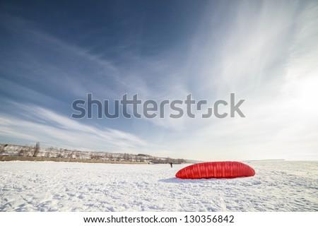 Kite boarding or snow kite - stock photo