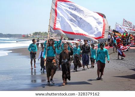 Kite festival in Ginyar, Bali, Indonesia 18.09.2015 - stock photo