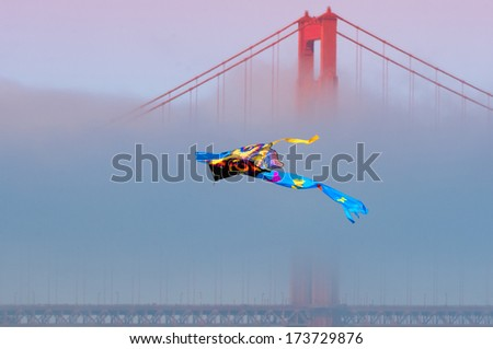 Kite flying in front of the Golden Gate Bridge, San Francisco Bay, San Francisco, California, USA - stock photo