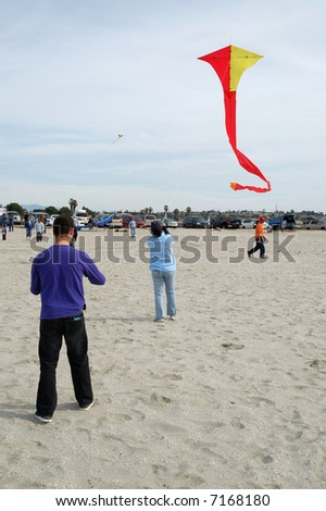 Kite-flying; Mission Bay; San Diego, California - stock photo