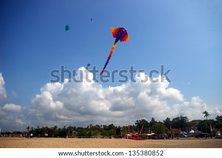 Kite flying over Sanur beach, Bali, Indonesia. - stock photo