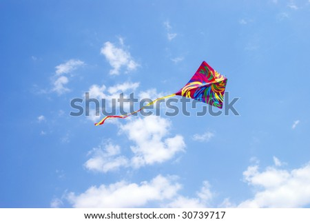 kite in the sky and cloud - stock photo