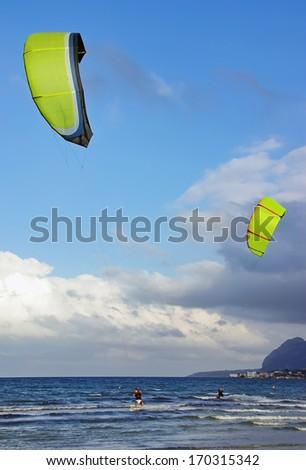 Kite Surf in Majorca (Balearic Islands - Spain) - stock photo