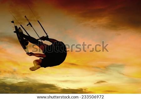 Kite surfer silhouette Southport gold coast Australia - stock photo