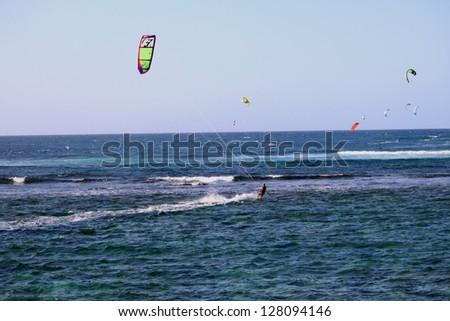 Kite surfers in hawaii - stock photo