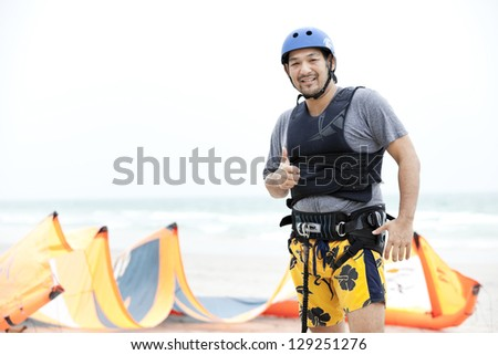 kite surfing - stock photo