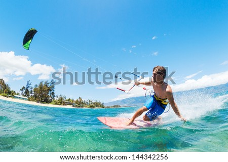 Kite Surfing, Fun in the Ocean, Extreme Sport - stock photo
