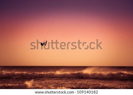 Kite surfing. Jump. - stock photo