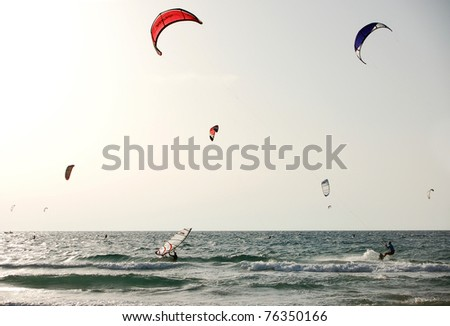 kite surfing scene - stock photo