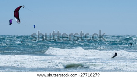 Kiteboarding on a very choppy sea in Southern California