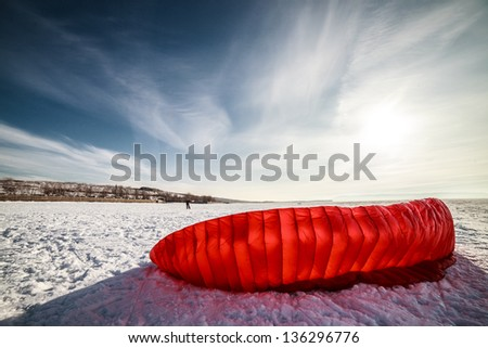 Kiteboarding or snow kite - stock photo