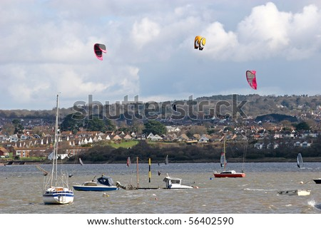 kites and boats on River Exe