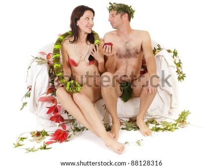 kitsch couple adam and eve seduction - stock photo