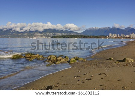 Kitsilano Beach in late Autumn, Vancouver, British Columbia - stock photo