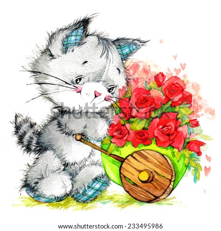 kitten. flowers delivery. celebrate greetings festival. watercolor - stock photo