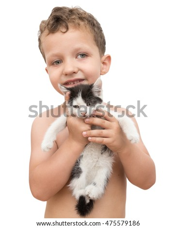 kitten in the hands of the boy on a white background