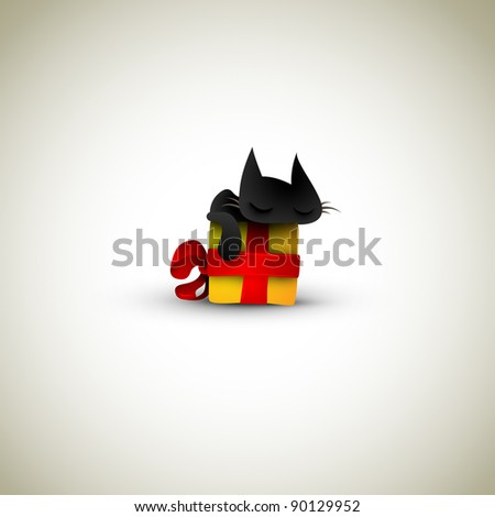 Kitten Sleeping on Christmas Gift Box   Great Greeting for Pet Owners - stock photo