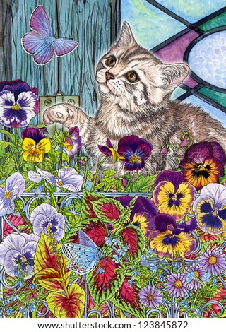 Kitty, butterflies & pansies - stock photo