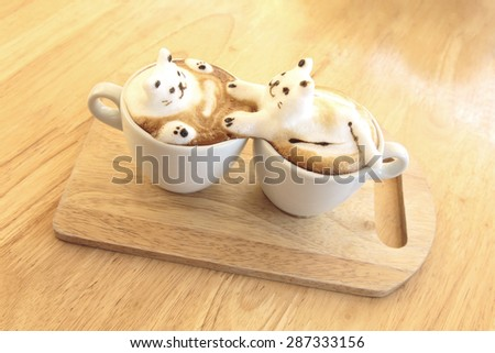 Kitty lover 3d latte Art - stock photo