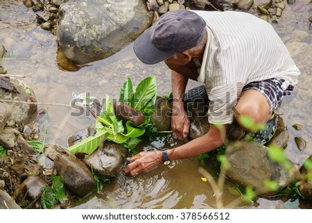 Kiulu Sabah Malaysia - Feb 9,2016:Unidentified villager trapping fish using traditional tools called Bubu.Environment friendly method  and tools is widely used during fish harvesting in Sabah Borneo.