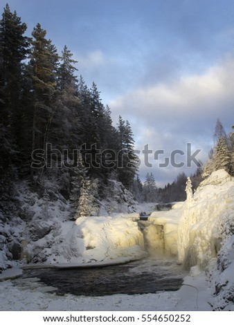 Kivach waterfall in the winter, Karelia, Northern Russia