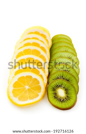 Kiwi and lemon on a white background - stock photo
