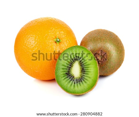 Kiwi and orange fruit isolated on white background - stock photo