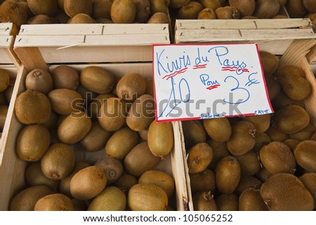Kiwi fruit from Dordogne on sale at the twice weekly market in Tours, France.