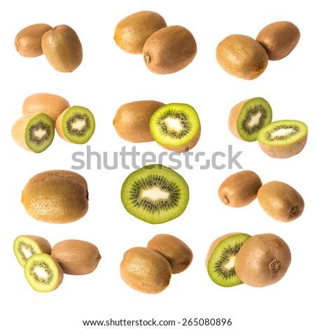 Kiwi fruit isolated on white background, macro - stock photo