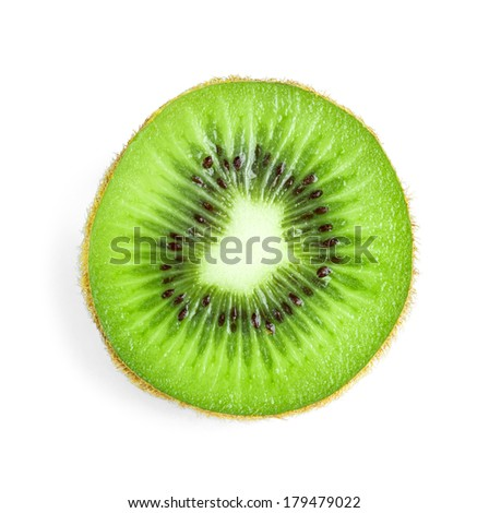 Kiwi fruit slice on white background