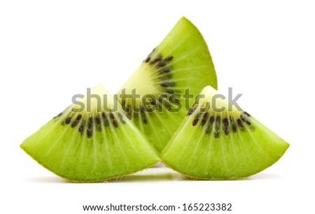 Kiwi fruit sliced segments isolated on white background cutout - stock photo