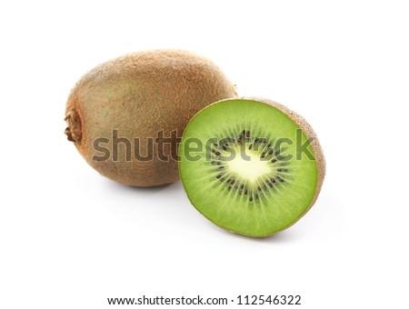 Kiwi fruits isolated on white background - stock photo