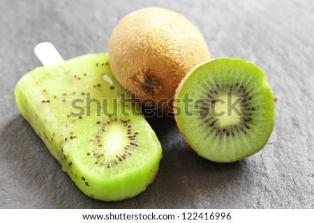 Kiwi Ice Cream Popsicle with Lime - stock photo
