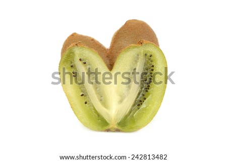Kiwi in the form of heart. Isolated on white  - stock photo