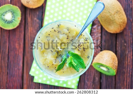 kiwi jam in glass bowl on the table