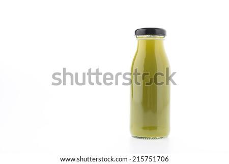 Kiwi juice bottle isolated on white background - stock photo