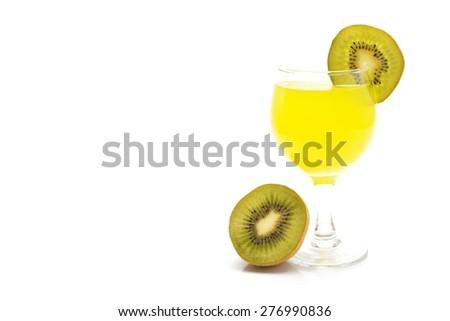 kiwi juice isolated on white background - stock photo