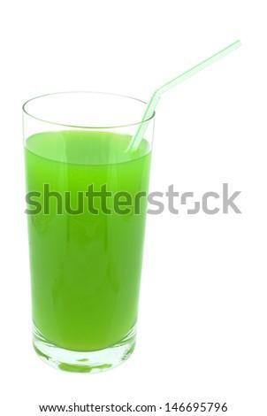 kiwi juice on white background - stock photo