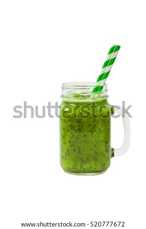 Kiwi Juice Smoothie Isolated on White Background. Selective focus.