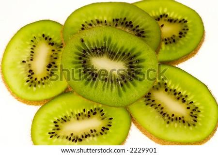 kiwi sliced close up - stock photo