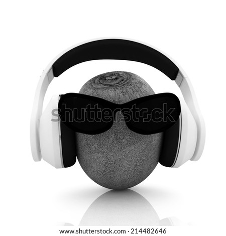 "kiwi with sun glass and headphones front ""face"" on a white background"