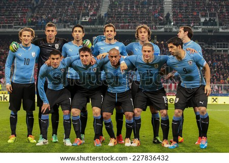 KLAGENFURT, AUSTRIA - MARCH 05, 2014: The team from Uruguay poses before a friendly soccer game between Austria and Uruguay. - stock photo