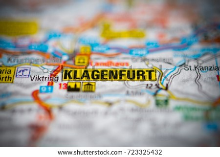 Klagenfurt On Map Stock Photo 723325432 Shutterstock