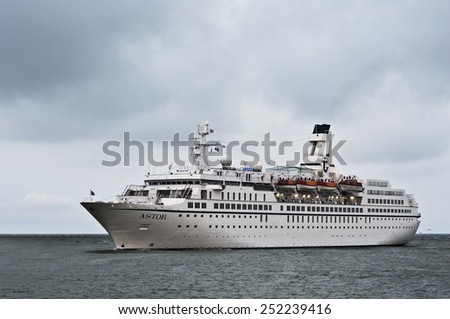 KLAIPEDA,LITHUANIA-AUG 21:cruise liner ASTOR in the Baltic sea on August 21,2012 in Klaipeda,Lithuania. - stock photo