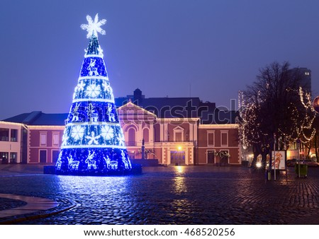 KLAIPEDA, LITHUANIA - 09 DECEMBER 2015: City Christmas Tree (New Years tree) on the Theater Square, Klaipeda city, Lithuania