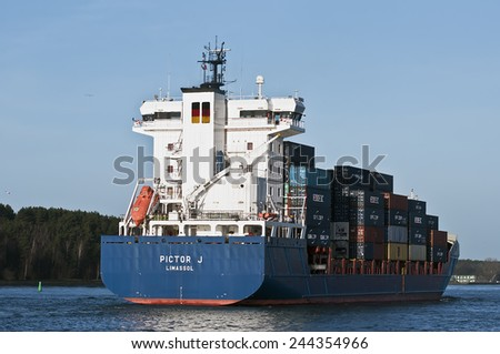 KLAIPEDA,LITHUANIA-JAN 13::Containership in port on January 13,2015 in Klaipeda,Lithuania.