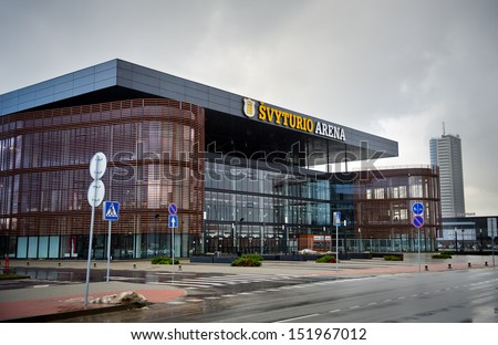 KLAIPEDA, LITHUANIA - JAN 2: Svyturys (Svyturio) Arena on January 2, 2013 Klaipeda, Lithuania. The capacity of indoor a catamaran-shaped arena is from 6000 to 7,450 seats. Opened in July 28, 2011. - stock photo