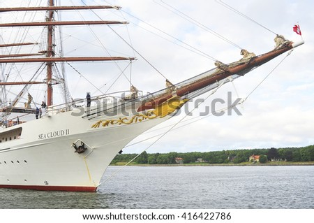 KLAIPEDA,LITHUANIA- JULY 16:cruise ship (large barque ) SEA CLOUD II in Klaipeda harbor on July 16,2015 in Klaipeda,Lithuania.The Sea Cloud II operated by Sea Cloud Cruises GmbH of Hamburg, Germany.