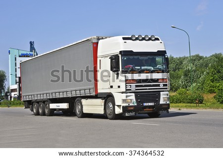 KLAIPEDA,LITHUANIA-JULY 08:DAF truck on the street on july 08,2015 in Klaipeda,Lithuania.